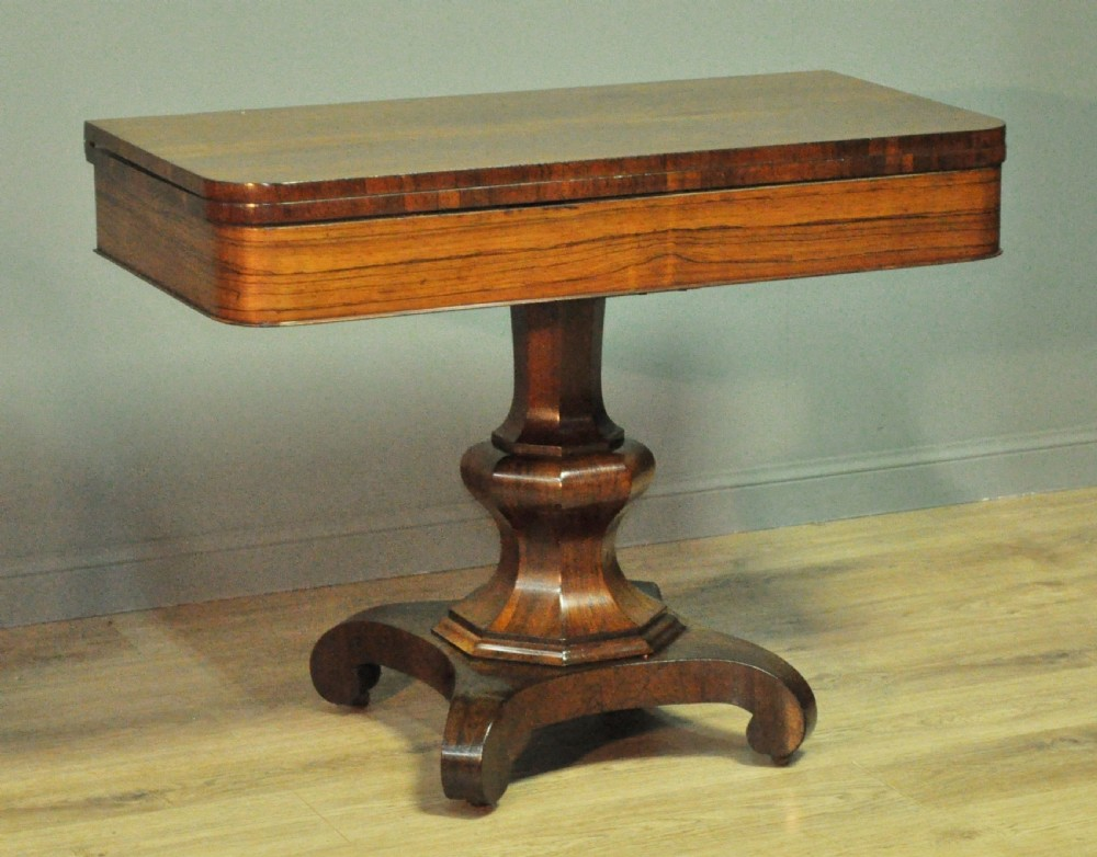 attractive antique victorian rosewood fold over tea hall table