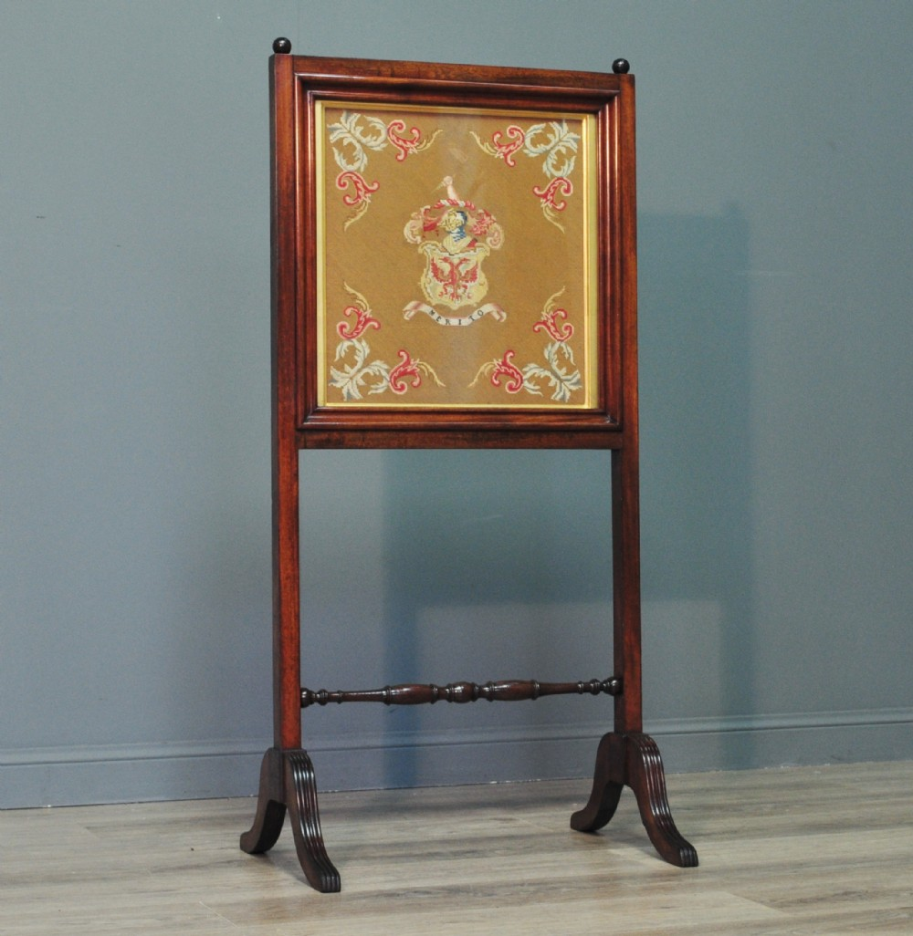 attractive antique victorian dunlop coat of arms tapestry mahogany fire screen