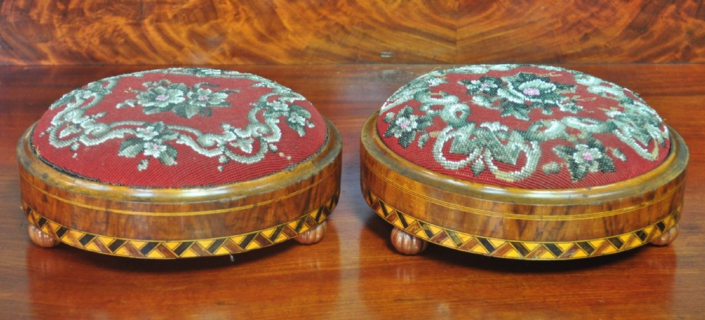 attractive pair of 2 small antique victorian walnut beadwork footstools stools