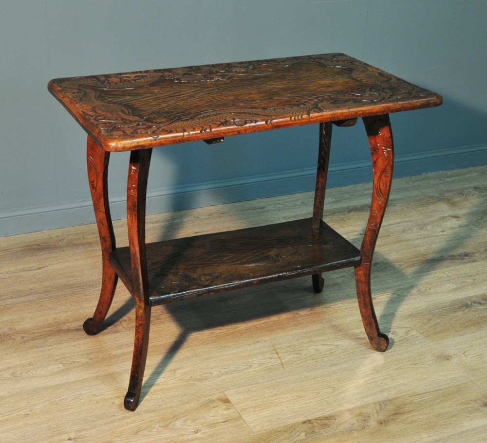 attractive vintage oriental dragon carved hardwood hall side table