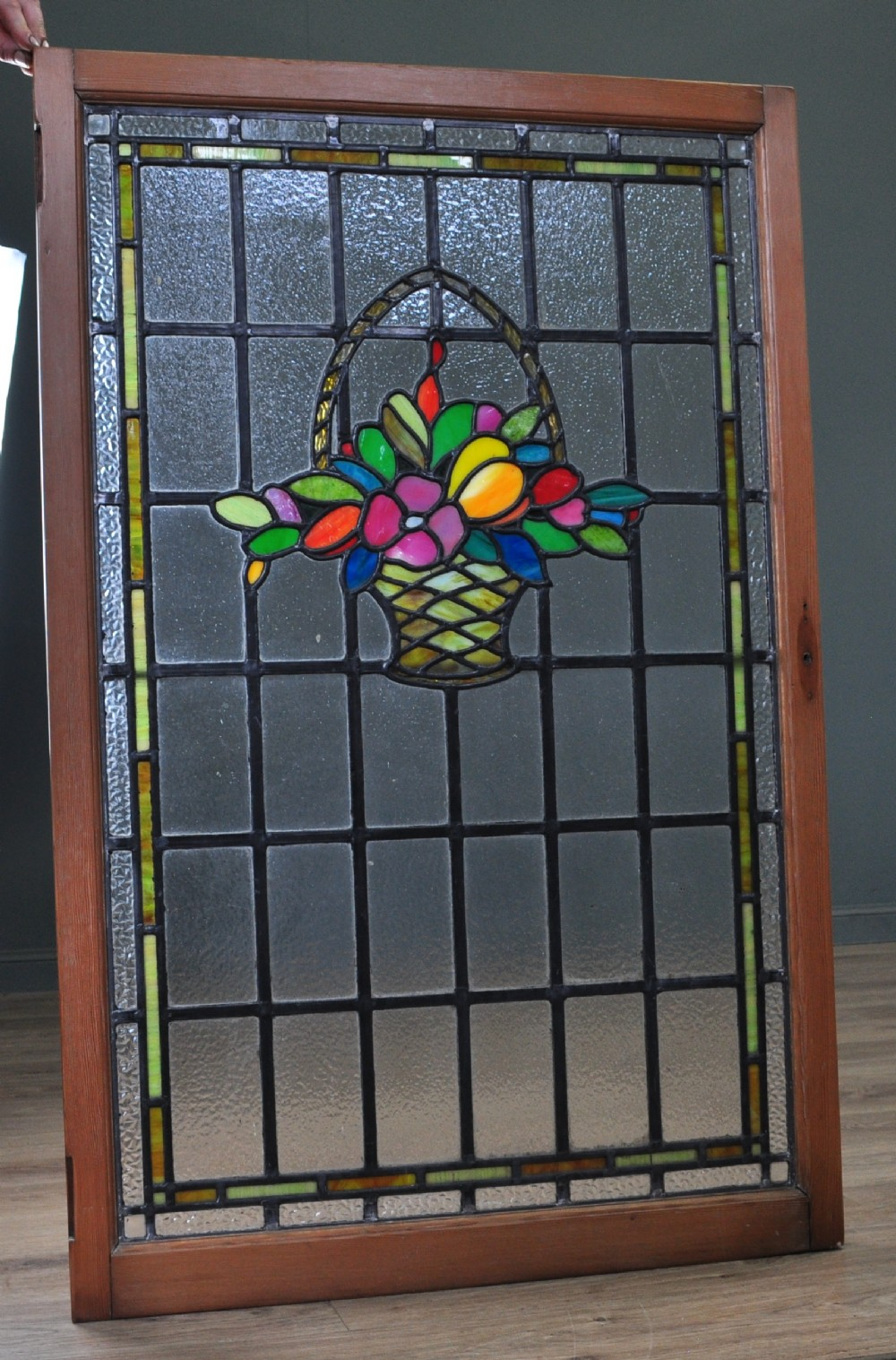 attractive large antique victorian 44 x 28 stained glass panel very colourful