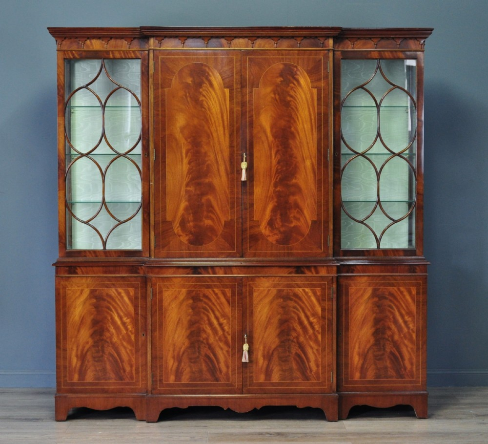 very large vintage flame mahogany four door bookcase display cocktail cabinet