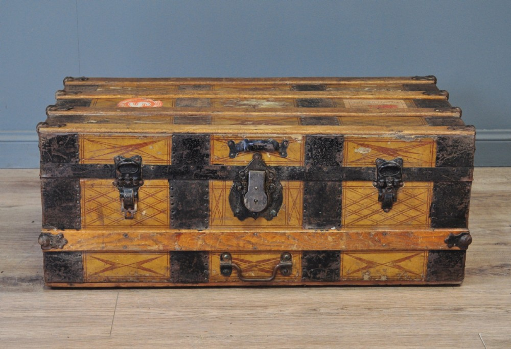 attractive antique leather metal bound chest storage shipping trunk toy box