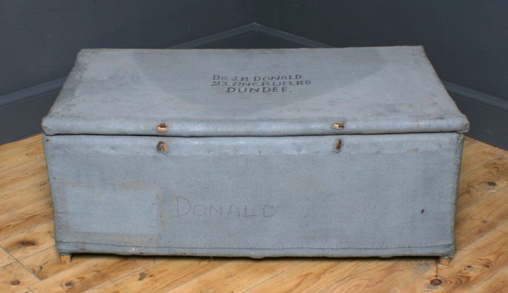 attractive large vintage painted jute bound basket chest storage trunk