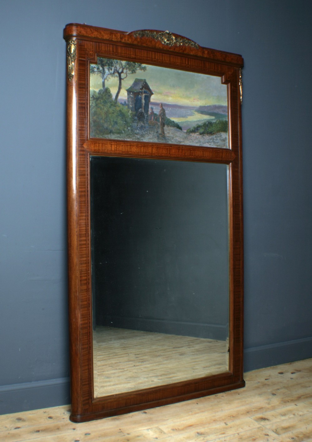 attractive large french walnut antique wall mirror with religious painted scene