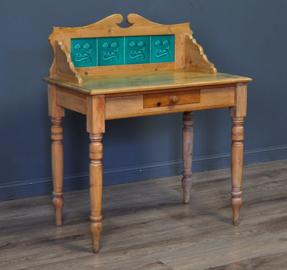 attractive small antique victorian pine washstand tile gallery back