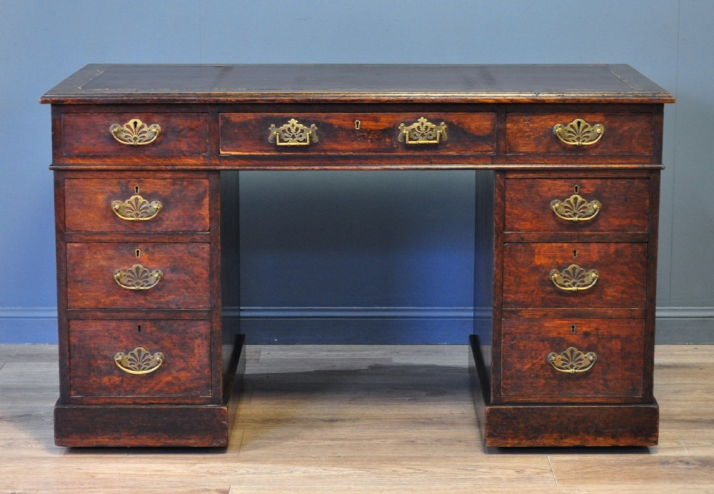 antique victorian oak twin pedestal writing desk owned by andy stewart mbe