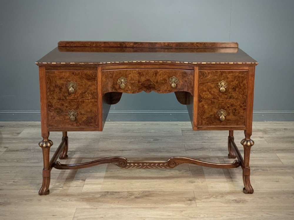 attractive high quality vintage burr walnut dressing table desk